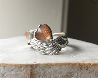 Sunstone Heart Angel Wing Ring with Silver Hammer Textured Wrap Band