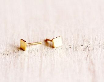 Square Earrings, Tiny Square Studs, Tiny Studs, Gold Stud Earrings, Small Post Earrings, Gold Post Earrings, Minimalist Earrings, Tiny Studs