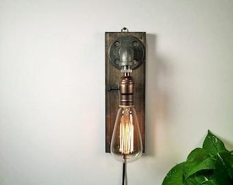 plug in industrial lighting. Plug In Wall Sconce Lamp-Rustic Decor-Sconce Lamp-Industrial Lighting -Steampunk Industrial