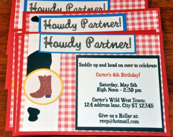Cowboy. Cowgirl. Invitations. Invites. Howdy Partner. A2 Set of 6. Cowprint. Gingham