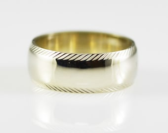 Vintage 14K White Solid Gold 7mm Wide Low Dome Band Size 6.5