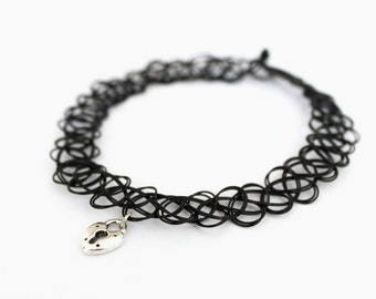 Heart locket tattoo choker