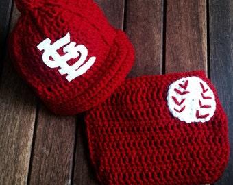 Newborn baby St Louis Cardinal baby cap diaper cover set