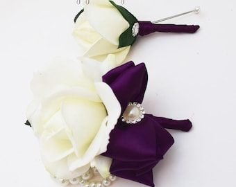 White & Plum Purple Real Touch Rose Wedding Boutonniere Wedding Corsage Rhinestone Pearls Mother of the Bride Father Flowers Prom Corsage