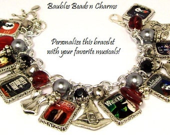 Broadway Musicals Charm Bracelet, Personalized Broadway Charm Bracelet, Custom Broadway Bracelet,  Broadway Musicals Charm Necklace