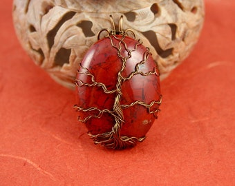 Brecciated Jasper brass wire-wrapped Tree of Life pendant, Yggdrasil, World Tree pendant