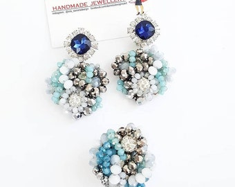 Blue marine earring and ring.