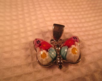 Retro Sterling Silver Cloisonne Butterfly Pendant