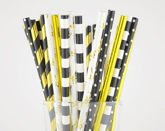 Black And Gold Paper Straw Mix - Party Decor Supply - Cake Pop Sticks - Party Favor