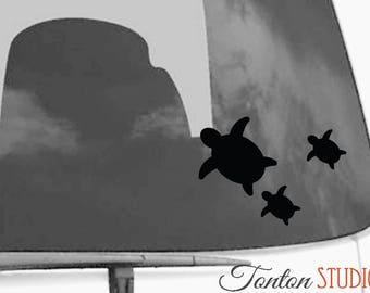 Turtles Car Decal / Turtles Car Sticker / Tortoise aptop Notebook Macbook Air Pro Removable Vinyl Sticker - R006