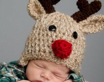 Reindeer Hat - Children's Deer Hat - Christmas Reindeer Hat with Red Nose - by JoJosBootique