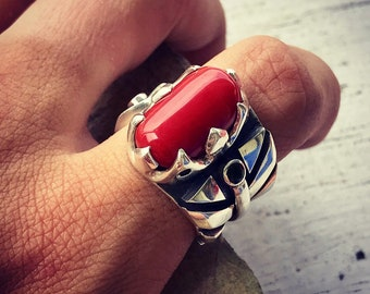 Sardinia Red Coral Ring. Silver 950. Tourmaline. 10 US Size (n.2)