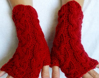 Fingerless Gloves/ Wrist Warmers Red Cabled Hand Knitted Warm