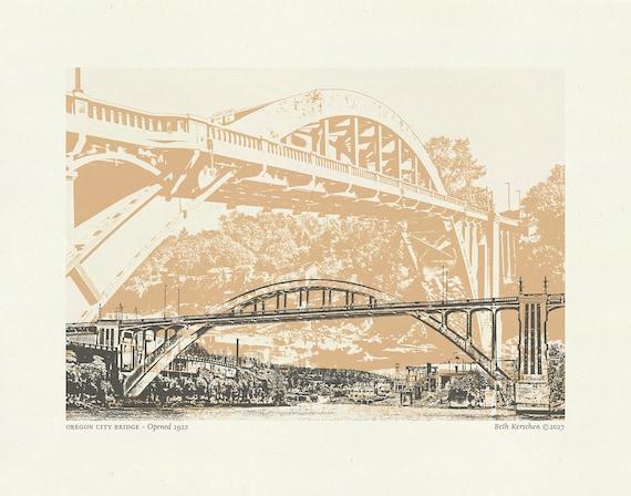 Oregon City Bridge Art print // Art Print // Wall art // Oregon Art // 8.5x 11
