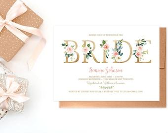 Bridal Shower Invitation, Peach Floral Bridal Shower Invitation, Summer Bridal Shower Invitation, Rustic Bridal Shower Invite, LSS 3