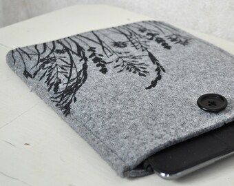 iPad - iPad Air case - light grey Felt cover with Grass Pattern, Silkscreen Printed Sleeve