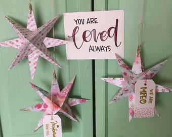 Valentines Box of Hanging Stars - pinky floral