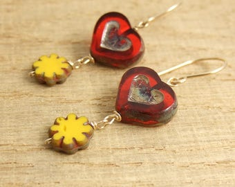 Earrings with Red, Czech Glass Heart Beads and Yellow, Czech Glass Flower Beads Wire Wrapped with Gold Filled Wire GHE-28