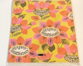 Vintage Norcross Wrapping Paper Gift Wrap Happy Birthday Pink Orange Flowers 1960's Color Flower Pattern