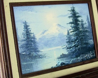 Vintage Framed Art - Blue and Green Mountain Lake Painting