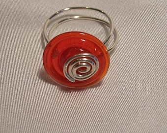 Red spiral lampwork glass and silver wire wrapped  ring  size 9 1/2
