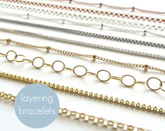 Perfect Layering Bracelets • Minimal Bracelet • Modern Jewelry • Delicate Bracelet • Perfect Layering Bracelet • Silver • Gold • Rose