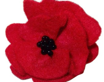 Vintage Style Red Felt Poppy Pin **100% of sales revenue on this pin in the month of MAY donated to local VFW & American Legion**