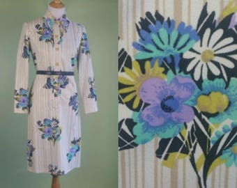 1970s Long Sleeve Dress - Vintage 60s 70s Butterfly Collar Dress - S/M