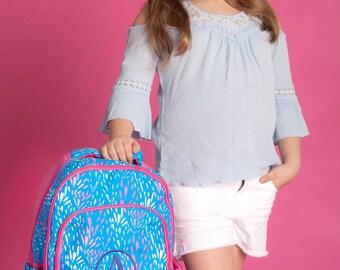 Sparktacular Girls Monogrammed Backpack, Monogram Book Bag, Personalized Girls Backpacks, Monogram Pink Backpack, Back to School