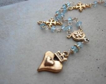 Blue Topaz Gold Heart Crown Valentine Necklace