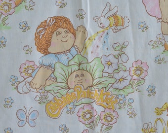 Vintage 1980s Cabbage Patch Kids Twin Sheet Set Flat Sheet Fitted Sheet Pillowcase 1983 Xavier Roberts