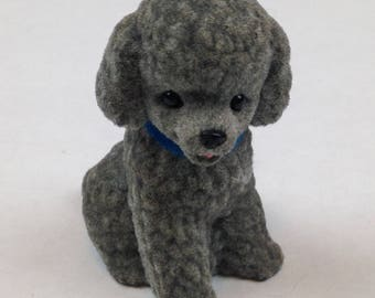 1970s POODLE DOG - Felt-covered Hard Plastic - Gray, Fuzzy Figurine, Collectible - 2.5""