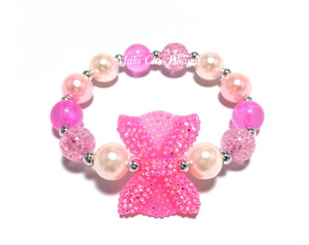 Toddler or Girls Small Beaded Neon Pink Bow Bracelet - Pretty Pink Bracelet - Shades of Pink Bracelet - Mini Bow Bracelet - Girly Bracelet