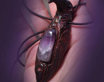 RAVEN Amethyst Pendant with Ammonite and Golden Topaz ~ Leather Cord