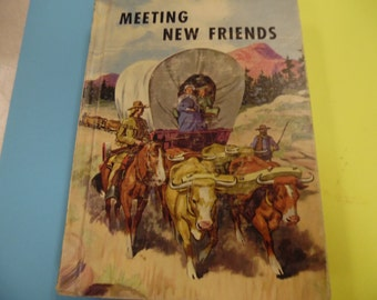 Meeting New Friends , school book, vintage school book, old school book, school reader