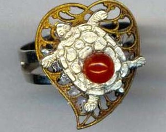 Adjustable Ring . Brass Filigree Heart . Vintage Turtle . Carnelian Gemstone . Silver Plated base- Heart and Turtle by enchantedbeas on Etsy
