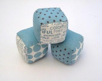 3 small fabric play blocks - Moda