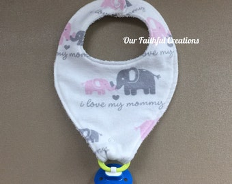 """Elephant Pacifier Bib, """"I love my mommy"""" Pink and Grey Elephant Bib, Binky Bib, Girl Bib, Pacifier Holder, Pacifier Clip, Drool Bib"""