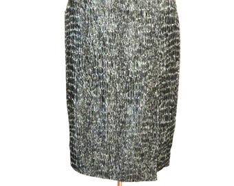 BRUNO BENINI Silver Vintage Skirt, Metallic Gray Skirt, Made in Italy, Designer, High Waist Pencil Skirt, Small, Front Seam, Girls Women