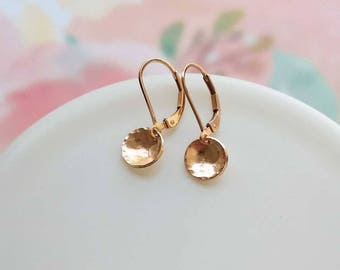 Rose Gold Dangle Earrings, Hammered Rose Gold Earrings, Small Dainty Disk Coin Circle Round Drop Earring Leverback Earrings Everyday Jewelry