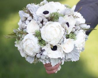 Vintage Wedding Bouquet,Anemone/Peonies Bridal Bouquet, Bridal Bouquet, Woodland Bouquet, Rustic Bouquet, Winter Bouquet Keepsake Bouquet