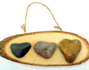 3 Pcs Rare Natural Heart Shape Sea Rocks  Beach Stones Israel