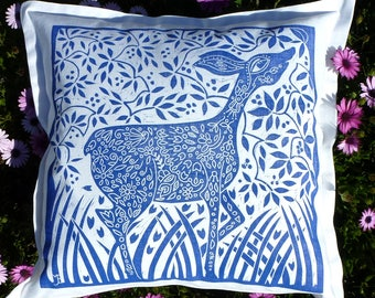 linocut, deer, blue and white, decorative pillow, cushion cover, linen fabric, textile art, doe deer, stylized deer, printmaking, hand made