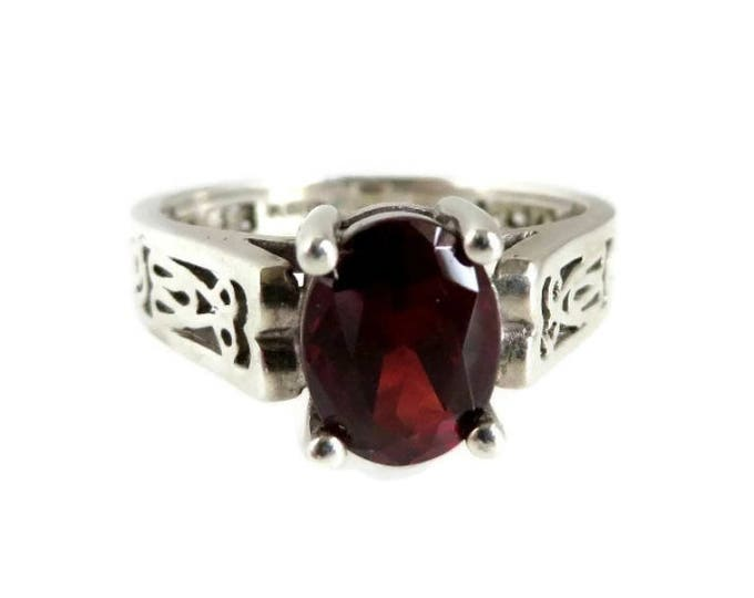 Synthetic Garnet Solitaire Ring - Sterling Silver Scrolled Band Ring, Size 9