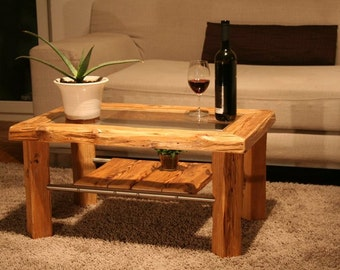 Coffee table glass - design furniture from antique wood