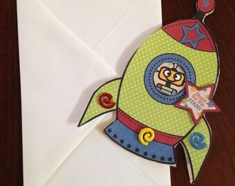 Birthday Card, Shaped Card, Rocket Card, Homemade Card, Kid's Card,