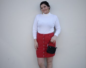 Vintage Red Button Down Skirt