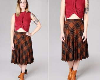 Vintage Brown and Black Bias Midi Skirt- Plaid Circle Full A-Line 1970s 70s College Retro Red Pleated Long Skirt- Size Large