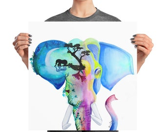 Elephant Watercolor Print Poster