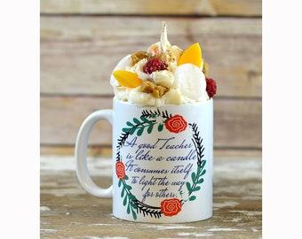 Teacher Candle Coffee Mug, Teacher Retirement Gift, Teacher Appreciation Gift, Teacher Gifts Personalized, Teacher Gifts, Teacher Retirement